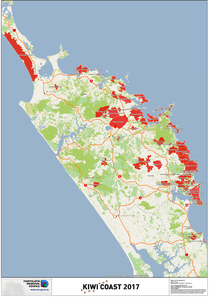 Kiwi Coast Groups Map 2017
