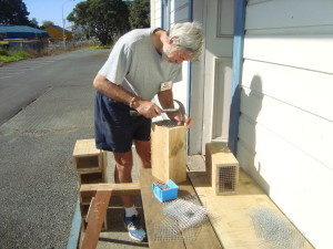 Mark from the Men's Shed making a rat trap box